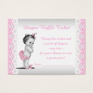 Entzückende Baby-Rosa-Windelraffle-Karte Visitenkarte