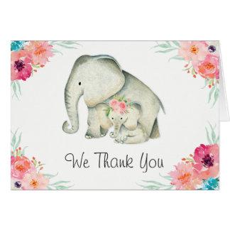 Entzückende Elefant-Babyparty danken Ihnen Karte