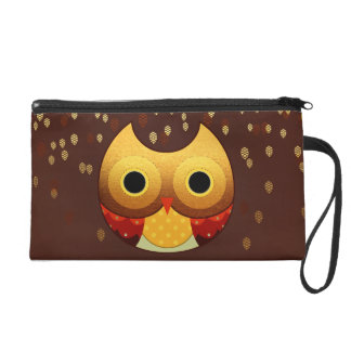 Entzückende Herbst-Eule Wristlet Handtasche