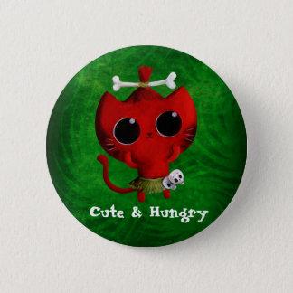 Entzückende Kannibale-Halloween-Katze Runder Button 5,7 Cm
