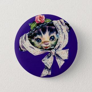 entzückende Kätzchenkatze in einem Runder Button 5,7 Cm