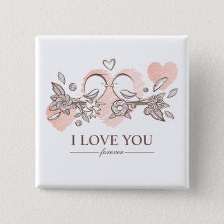 Entzückende Lovebirds im Quadratischer Button 5,1 Cm