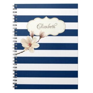 Entzückende Marine-Blau stripses, Magnolie, Spiral Notizblock