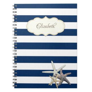 Entzückende Marine-Blau stripses, Starfish, Notizblock