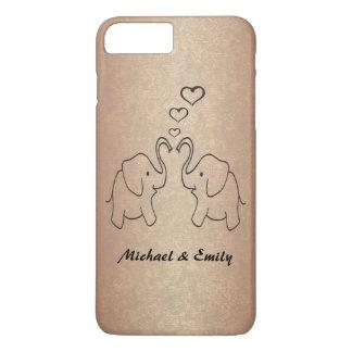 Entzückende niedliche Elefanten in Liebe rosegold iPhone 7 Plus Hülle