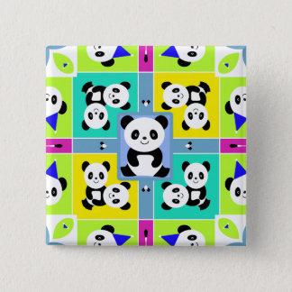 Entzückende Panda-Bärn-helle Farben Quadratischer Button 5,1 Cm