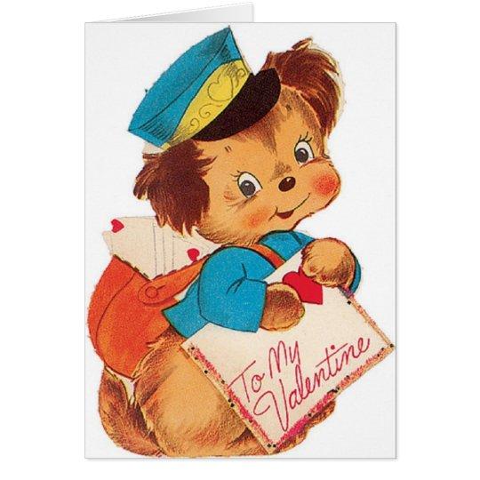 Entzückende Retro Welpemailman-Valentinstag-Karte Grußkarte