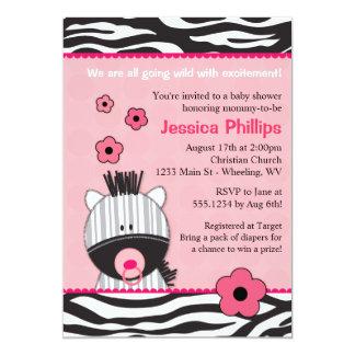 Entzückende rosa Zebra-Babyparty-Einladungen Einladung
