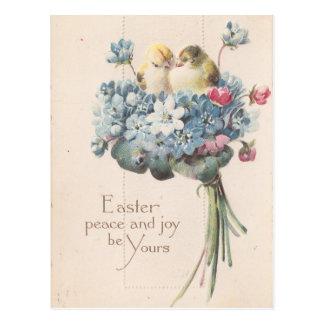 Entzückende Vintage Osternvögel und -Blumen Postkarte