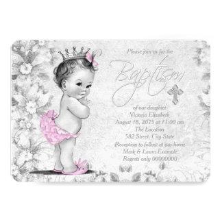 Entzückende Vintage rosa und graue Taufe 12,7 X 17,8 Cm Einladungskarte