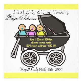 Entzückende Wagen-Dreiergruppe-Babyparty-Einladung