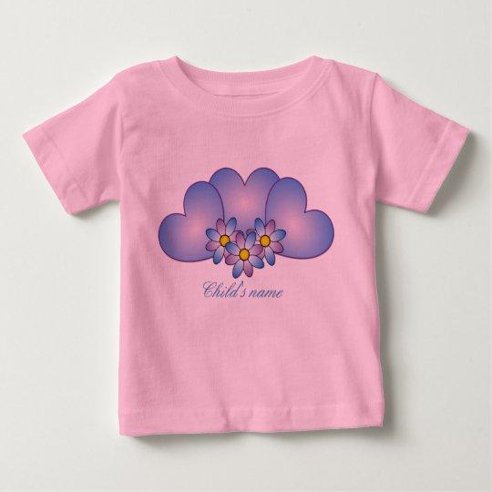 Entzückender Baby-Blau-Herz-Valentinstag Baby T-shirt