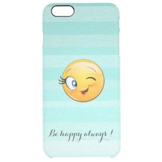Entzückender blinzelnder smiley Emoji Gesicht-Ist Durchsichtige iPhone 6 Plus Hülle