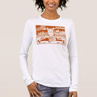 Entzückender Fox-Kunst-Entwurfs-Block-Druck-T - Langarm T-Shirt