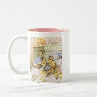 Entzückendes Kaninchen und Geflügel Zweifarbige Tasse