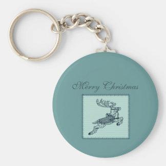Entzückendes nettes Weihnachtsren-Patchwork Schlüsselanhänger
