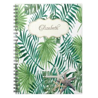Entzückendes Palmblatt, Starfish, personalisiert Notizblock