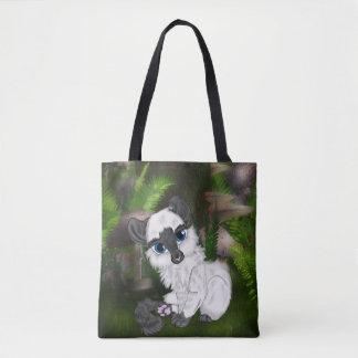 Entzückendes weißes flaumiges Kätzchen Tasche