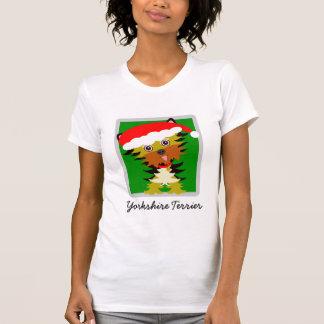 Entzückendes Yorkshire-Terrier-Cartoon-Weihnachten T-Shirt