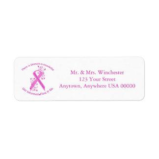 Entzündliches Brustkrebs-Bewusstsein Rücksendeetiketten