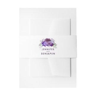 Épouser pourpre et violet de prune de fleurs bandeaux de faire-part