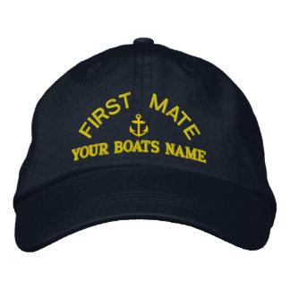 Équipage fait sur commande de yacht de premier casquette brodée