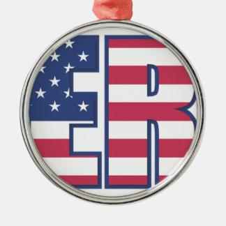 Er-amerikanische Flagge spielt Streifen-rotes Silbernes Ornament