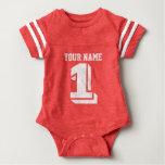 ęr Combinaison de bébé de nombre de jersey du Tee-shirt