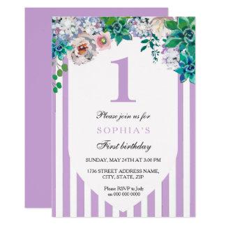 Ęr invitation d'anniversaire de fille florale