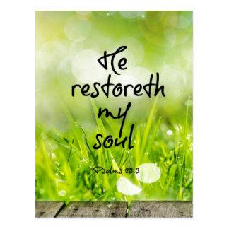 Er restoreth mein Soul-Bibel-VersScripture Postkarte
