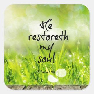 Er restoreth mein Soul-Bibel-VersScripture Quadratischer Aufkleber