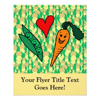 Erbsen-Liebe-Karotten, niedlicher grüner und 11,4 X 14,2 Cm Flyer