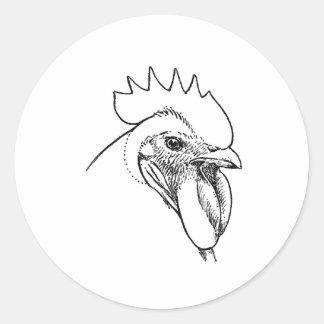 Erbzucht-Hahn-Illustration Runder Aufkleber