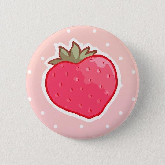Erdbeere I <3 Runder Button 5,7 Cm