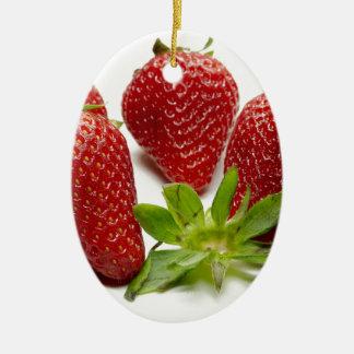 Erdbeere Ovales Keramik Ornament