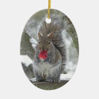 Erdbeereichhörnchen Ovales Keramik Ornament