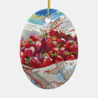 Erdbeeren Ovales Keramik Ornament