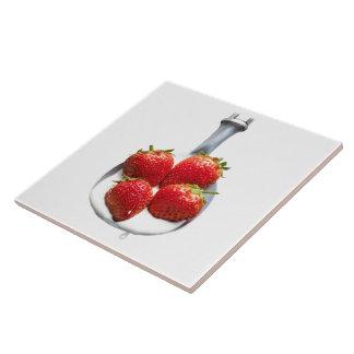 Erdbeeren und Creme Keramikfliese