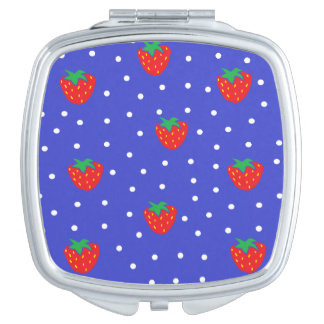 Erdbeeren und Tupfen dunkelblau Taschenspiegel