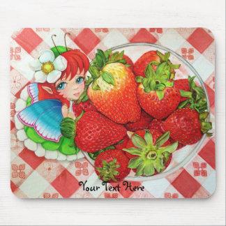 Erdbeerfeenhafter Picknick-Kunst-Druck Mousepad