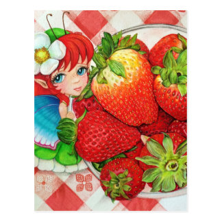 Erdbeerfeenhafter Picknick-Kunst-Druck Postkarte