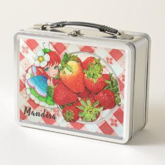 Erdbeerfeenhafter Picknick-Kunstdruck Metall Brotdose