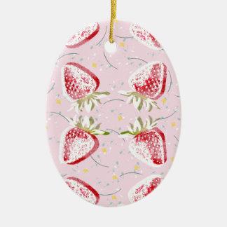 Erdbeerfiesta-Muster Ovales Keramik Ornament