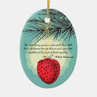 Erdbeerfrucht kulinarische Weihnachtsverzierung Ovales Keramik Ornament