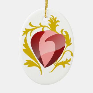 Erdbeerherz Ovales Keramik Ornament