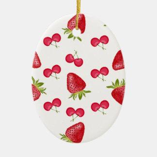 Erdbeerkirschfiesta-Muster Ovales Keramik Ornament
