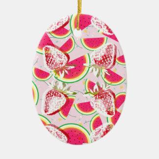 Erdbeermelone-Fiesta-Muster Ovales Keramik Ornament