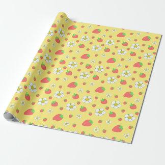 Erdbeerpunkte im Gelb Geschenkpapier