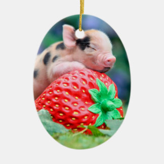 Erdbeerschwein Ovales Keramik Ornament