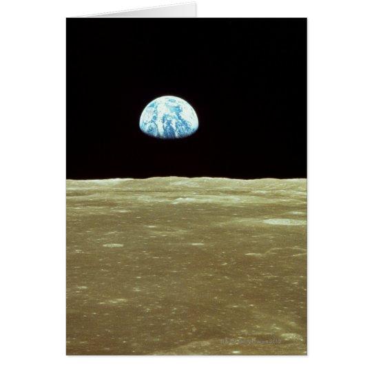 Erde, die über Mond steigt Grußkarte
